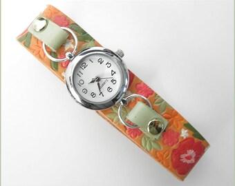 women wrist watch flower leather red orange summer