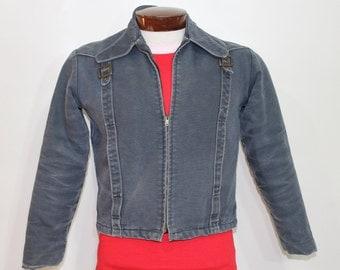 Vintage 60s Denim Jacket Motorcycle Biker Jacket Faux Fur Lined Mens 1960s 38 Peters Jean Jacket Dark Blue Jacket