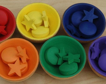 Montessori Inspired Sorting Set With Bowls Wooden Rainbow Sensory Toy Sorting Color Matching