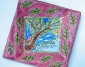 decorative dish hand painted majolica ceramic pottery