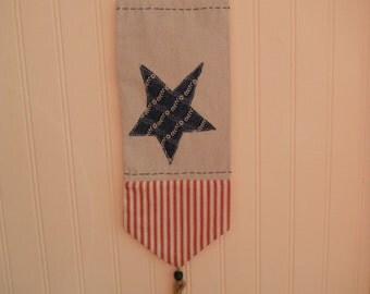 Sale... Antique Bobbin Door Knob Drawer Hanger Folk Country Banner Blue White & Red Star Wall Lamp Hanger Home Decor Folk Art Primitive Art
