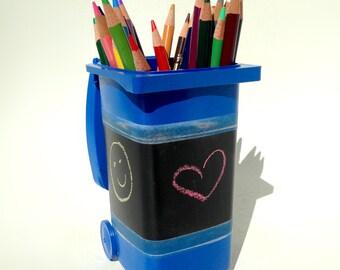 Mini Recycle Bin Pencil Holder Chalkboard Surface
