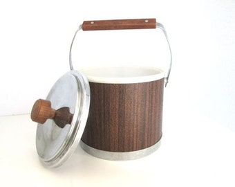 Mid Century Modern Ice Bucket Mad Men Barware Brown Wood Grain
