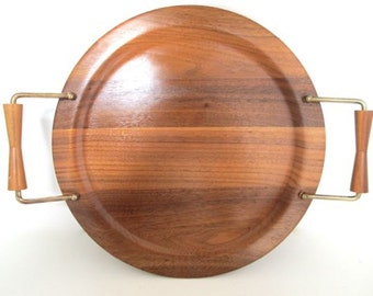 Mid Century Modern Serving Tray Wood Handled Platter Barware