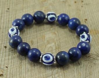 Blue Lapis Lazuli Bracelet with Blue Evil Eye Glass Beads