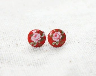 Red Vintage Glass Stud Earrings Pink and White Roses Tiny 7mm stocking stuffer