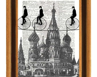 Dictionary Print Bike Tightroper riders in Moscow crossing Saint Basil Cathedral, vintage illustration  Dictionary art prints