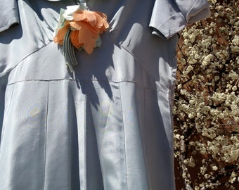 Dress 1940s era Donna Reed Light Blue Long with Fabric Flower AS IS