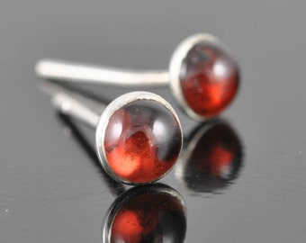 Garnet earrings, stud earrings, january birthstone earrings, sterling silver earrings, graduation, gift, bridesmaid, wedding
