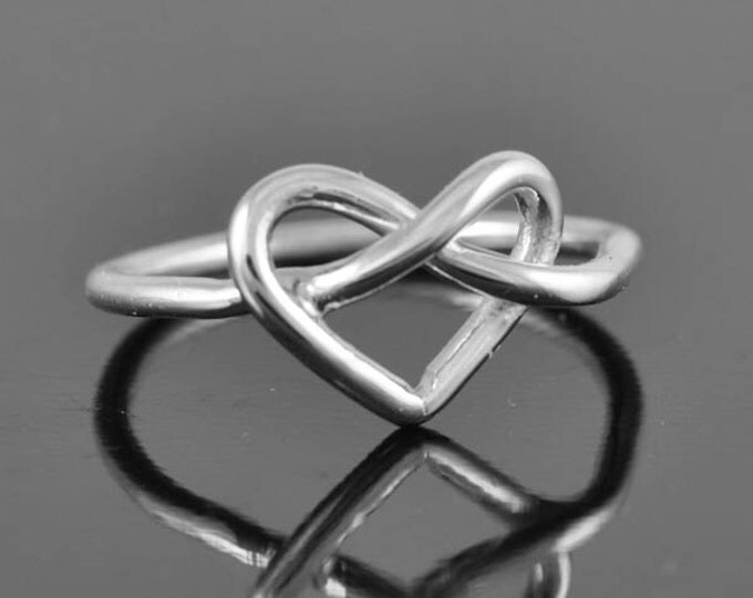 infinity ring, heart ring, sterling silver ring, infinity heart ring, love knot ring, heart knot ring, bridesmaid gift, bridal Jewelry