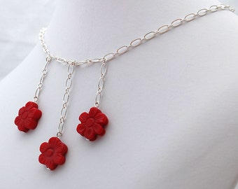 Red Coral Flower Chain Necklace, Handmade Jewelry