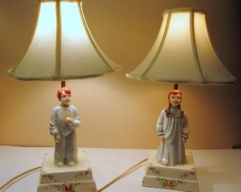 REDUCED ~ Vintage Child's Bedroom Lamp Set