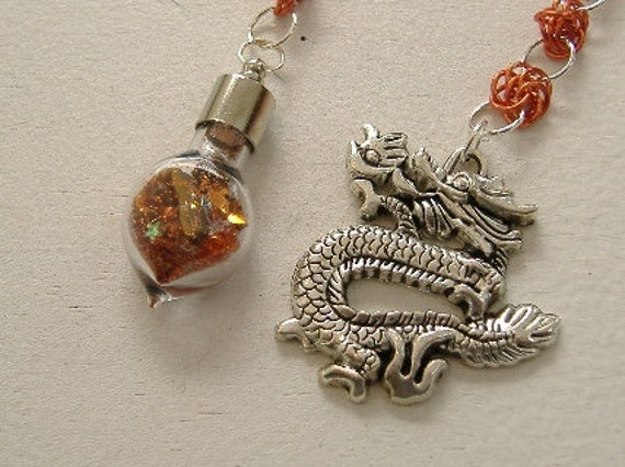 Orange Dragon Dowsing Pendulum - Dragon of Strength, Courage, Transition and Balance