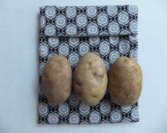 Black and White Microwave Magic Pocket,  Potato Pocket, Tortilla Warmer, Wild Crow Farm's Farmhouse Kitchen