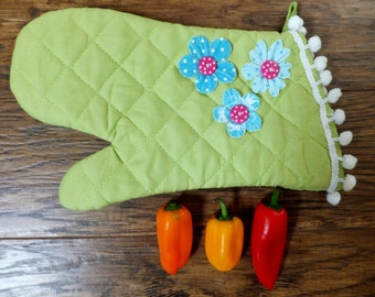 Lime Green Oven Mitt with Blue Handcut Flowers and Pom Pom Trim