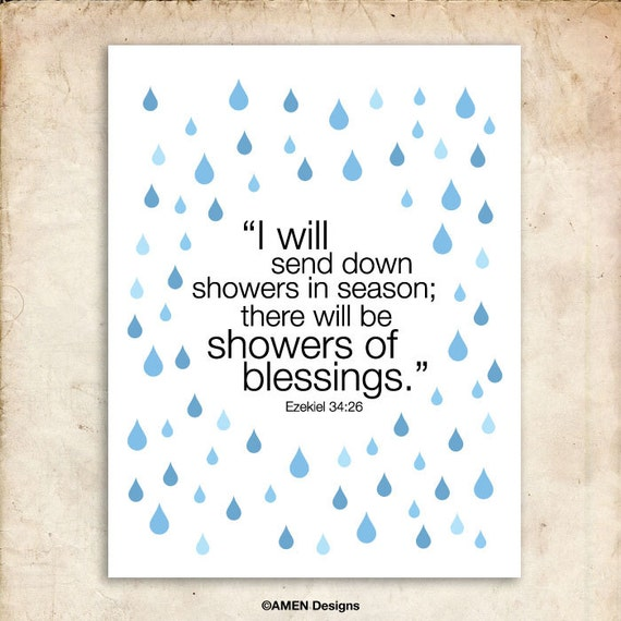 Ezekiel 34:26. Showers of blessing. 8x10 DIY Printable Christian Poster.Bible Verse.