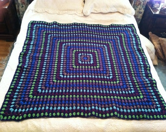 Mosaic Granny Square Afghan in Navy and Bright Colors Handmade