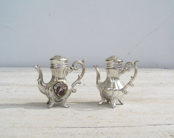 Mid century Salt and pepper shakers, Victorian Dinner Table, Silver plated shakers, Retro collectible kitchenware, Miniature Teapot
