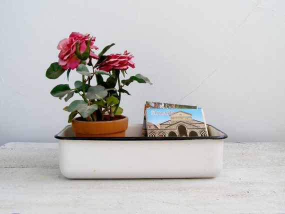 Vintage Enamel cookware, Farmhouse kitchen utensil, baking dish, Rustic container , Mid century kitchen decor, Table organizer