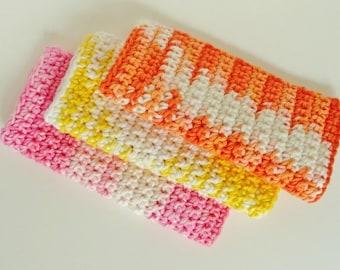 Crocheted Cotton Washcloths Dishcloths Gift under 20 dollars Set of 3 Tangerine Lemon Pink Lemonade