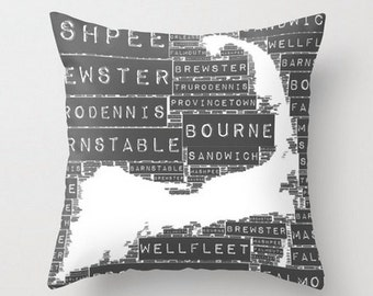 Throw Pillow Cape Cod Towns Typography Home Decor Product Sizes and Pricing via Dropdown Menu