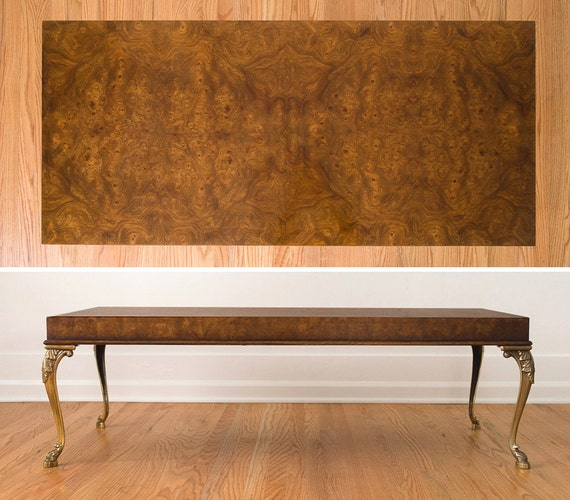 Burl Coffee Table Legs: SALE Vintage Burl Wood Coffee Table With Brass Cabriole Legs