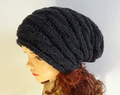 Hand Knit Hat  Slouchy Hat Beanie Knit Cable hat Slouchy Beanie  Oversized Baggy cabled hat women autumn accessory charcoal gray winter hat