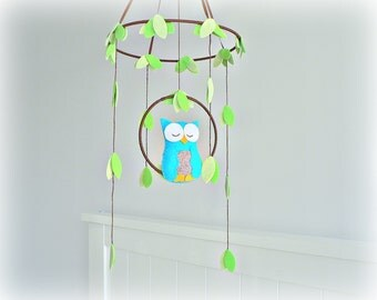Owl mobile - woodland - baby mobile - cyan, gray, green - nursery decor - MADE TO ORDER
