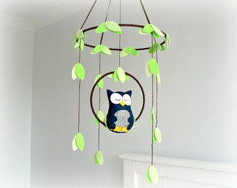 Owl mobile - woodland - Nursery baby mobile - Felt navy and gray owl - Nursery decor - MADE TO ORDER