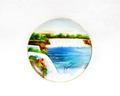 vintage collectibles, vintage souvenir plate, vintage Niagara Falls, NY hand painted plate