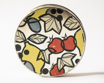 Round tin box, candy box lemon, plum, strawberry ornaments, red yellow silver Soviet box retro