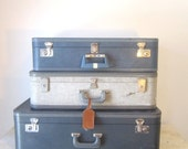 Vintage Tweed Grey Blue Luggage Suitcase Travel Display Home Decor Prop Wedding Gift for Him Her - slatternhouse5
