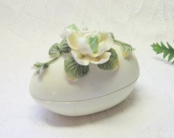 Vintage Porcelain China Roses Flower Egg Dish Trinket Jewelry Candy Dish Covered Green White Cream  Gift for Her Home Decor
