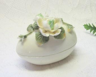 Vintage China Porcelain China Egg Dish Covered Trinket Egg Box Ring Jewelry Box  Ornate Floral Covered Porcelain Covered Egg Candy Dish
