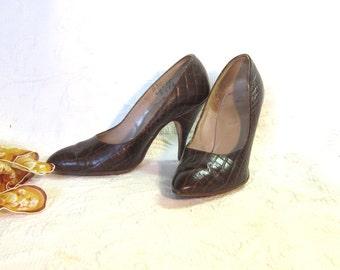 Vintage Shoes Womens Shoes Pumps Leather Shoes Pumps Cocodile Shoes High Heeled Womens Shoes 1950 Brown Leather Pumps Stilletto Heel Shoes