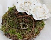 Wedding Ring Pillow Nest Wedding Ring Pillow With Paper Roses Custom Color Ribbon