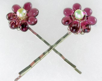 Plum/Grape & FW Pearl Flower Bobby Pins (2),Sterling Silver Wired, Hair Pin Accessory, February Gift, free US ship