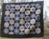 58x68 Idaho Vandals black and gold kaleidoscope hexagon quilt w/ flannel backing