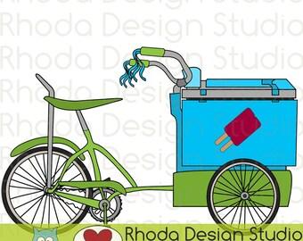 Retro Popsicle Cart Ice Cream Trike Bikes Digital Clip Art Vintage Bicycles