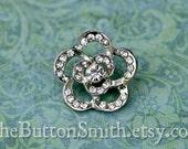 "Rhinestone Buttons ""Anika"" (21mm) RS-051 - 20 piece set"
