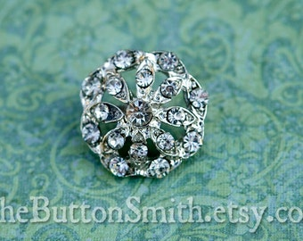 5 to 20 Piece Crystal Rhinestone Buttons - (21mm) RS-010 in silver finish- Perfect for Ring pillow Hair pins Brooch Bouquets hair pins craft