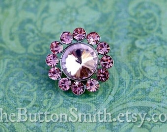 Rhinestone Buttons -Juliet- (20mm) RS-008 in Pink - 5 piece set
