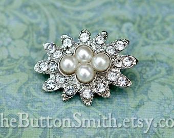Rhinestone & Pearl Buttons -Ella- (28x21mm) RS-041 - 20 piece set