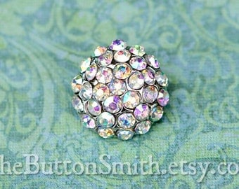 """Rhinestone Buttons """"Holly"""" (18mm) RS-057 in Opal AB - 5 piece set"""