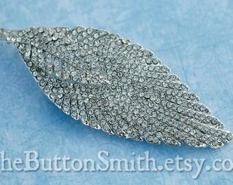Rhinestone Brooch Component /Embellishment(11.3cm x 4cm) BR-023 - 1 piece