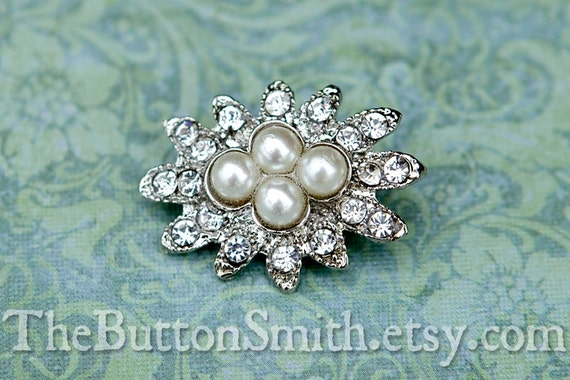 Rhinestone & Pearl Buttons -Ella- (28x21mm) RS-041 - 20 piece set