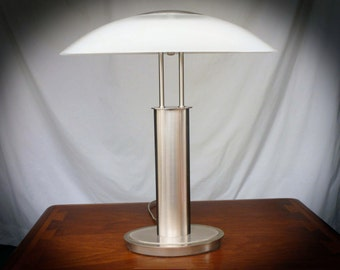 Midcentury Modern LAMP - Stainless steel with Frosted Glass Shade - Free Shipping