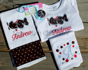 Personalized Gift Set - Applique and Embroidery Design.  One Burp Cloth, One Onesie, One Pacifier Clip and One Bib