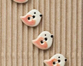 Peach Bird Buttons