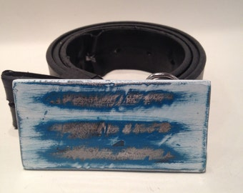 Distressed steel belt buckle blue and white.